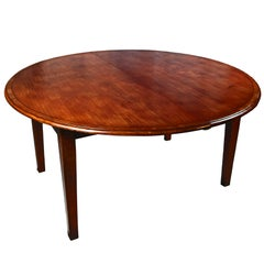 Round Cherry Yewwood-Banded Dining Table