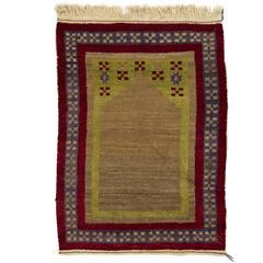 Unique Vintage Tulu Rug with Prayer Niche Design