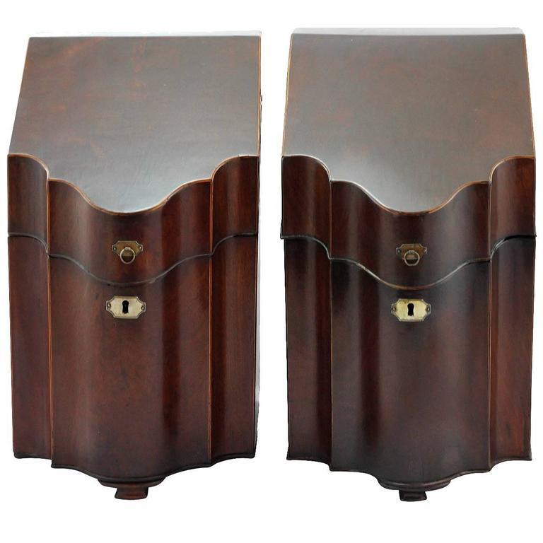A Pair of English Georgian Mahogany Knife Boxes