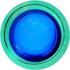 Seguso Vetri D'Arte Murano Sommerso Aqua Cobalt Blue Italian Art Glass Bowl