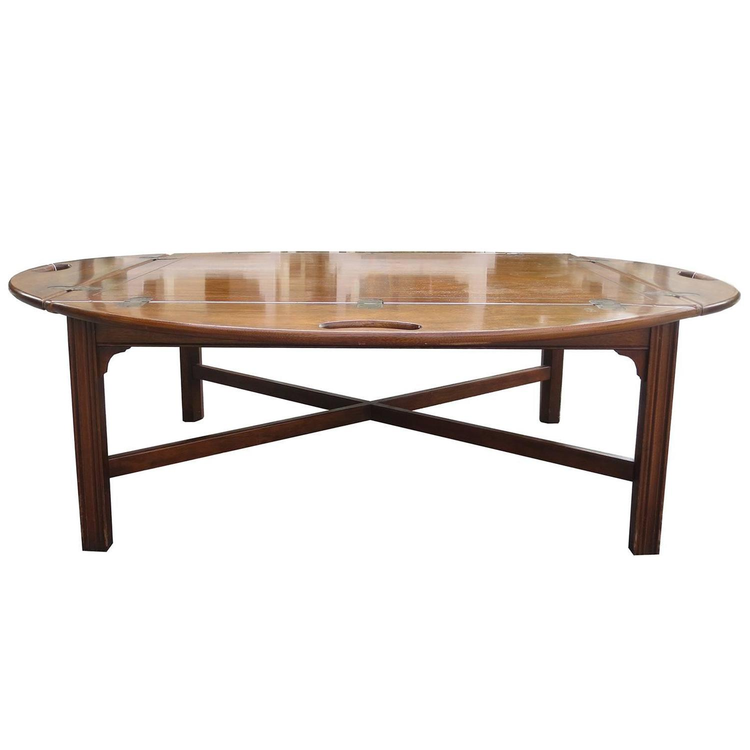 Vintage Butler Coffee Table: Vintage Mahogany Oversized Butler's Tray Coffee Table By