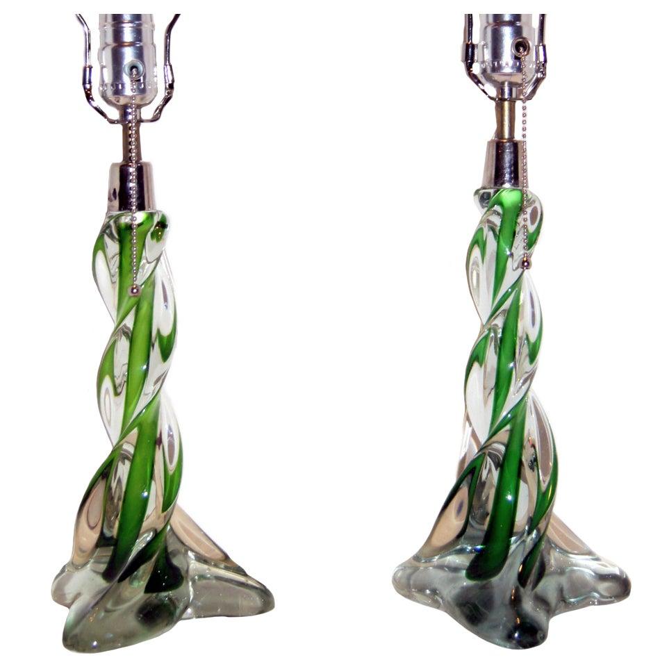Pair of Green Murano Glass Lamps