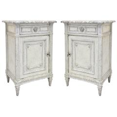 Antique Pair of Louis XVI Painted Night Stands Bedside Tables
