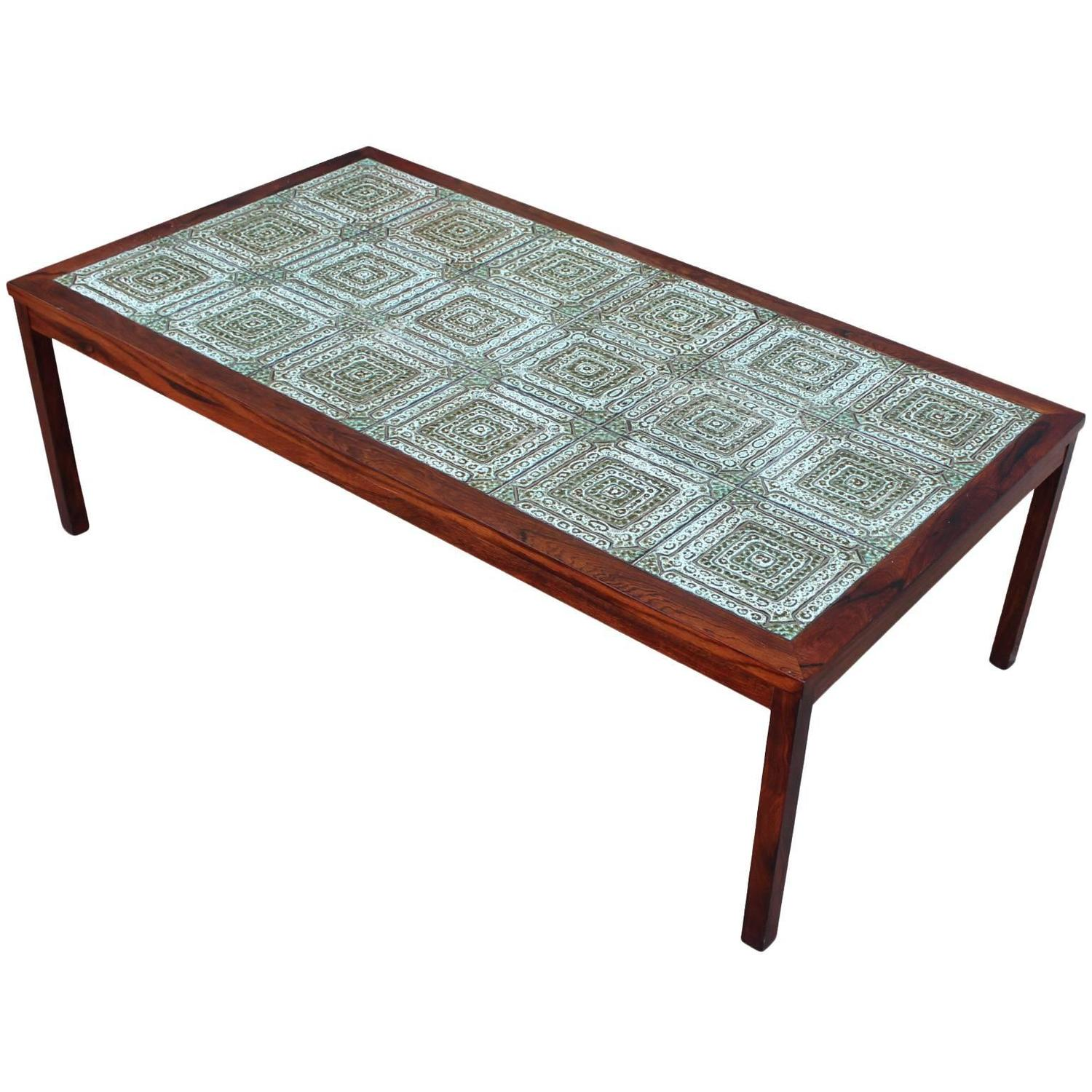 Excellent Danish Tile and Rosewood Coffee Table at 1stdibs
