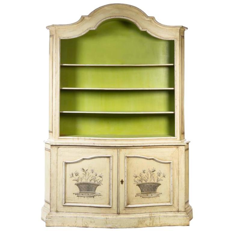 Elegant 19th Century Italian Neoclassical Painted Bookcase 1