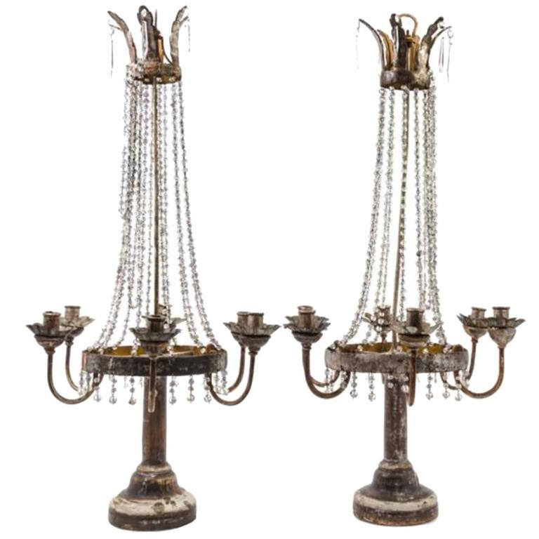 Pair of Italian Neoclassical Tole, Giltwood and Crystal Six-Light Candelabra 1