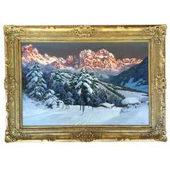 """Sunset over the Tyrol"" Painting by Alois Arnegger"
