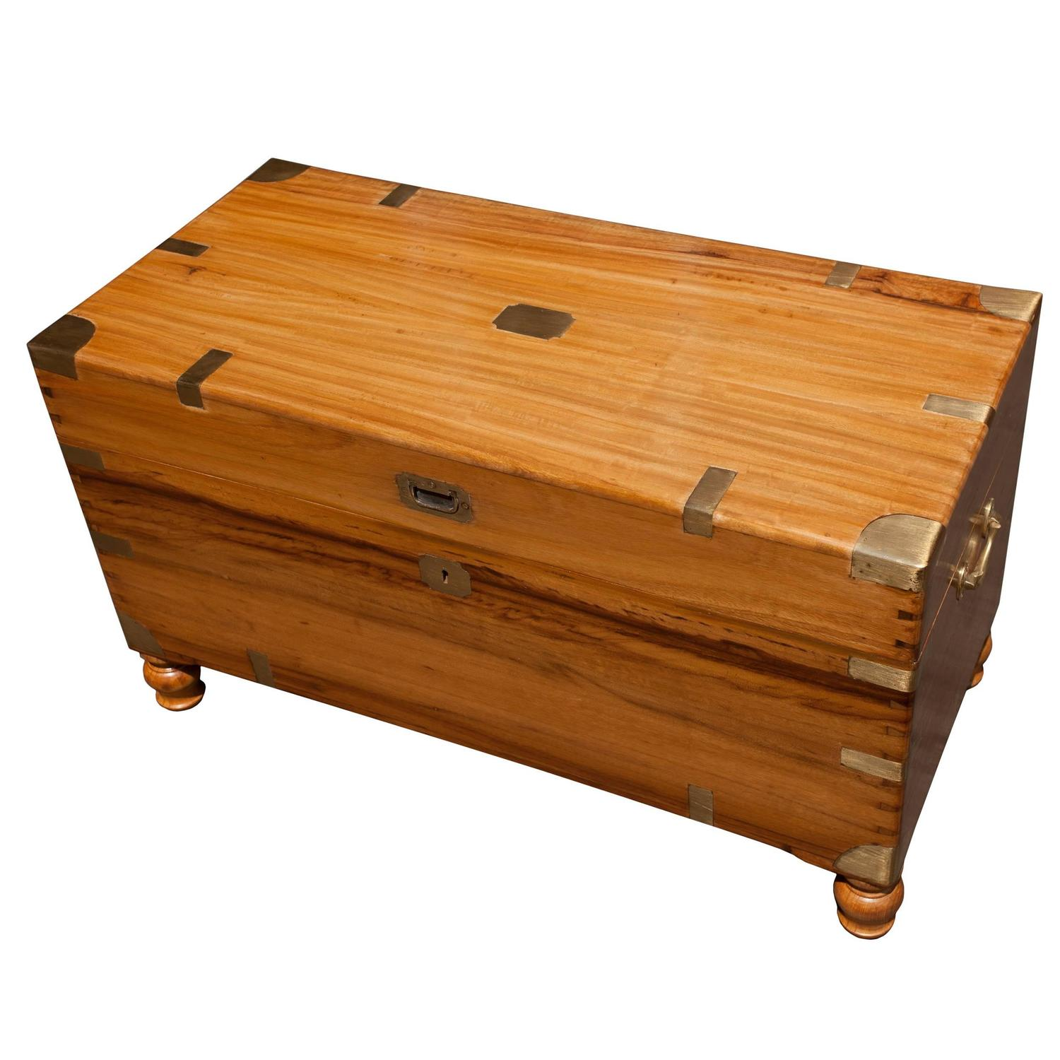 Late 19th Century British Campaign Camphor Wood Sea Chest at 1stdibs