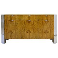 """Milo Baughman for Directional """"Skyscraper"""" Burled Elm and Chrome Credenza"""