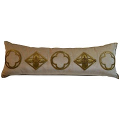 Antique Raised Gold Metallic Embroidered Applique Pillow