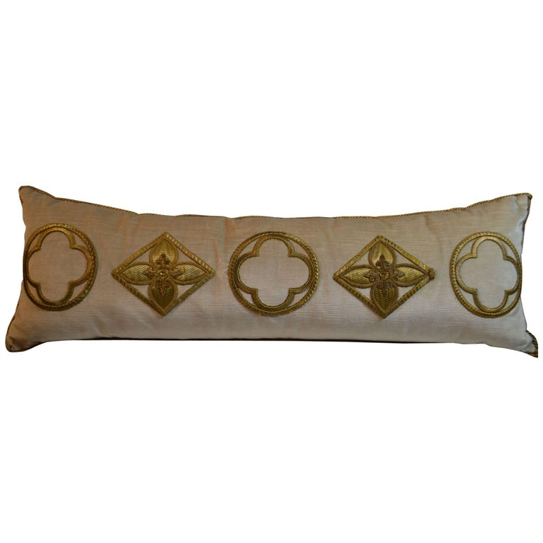 Antique Raised Gold Metallic Embroidered Applique Pillow For Sale
