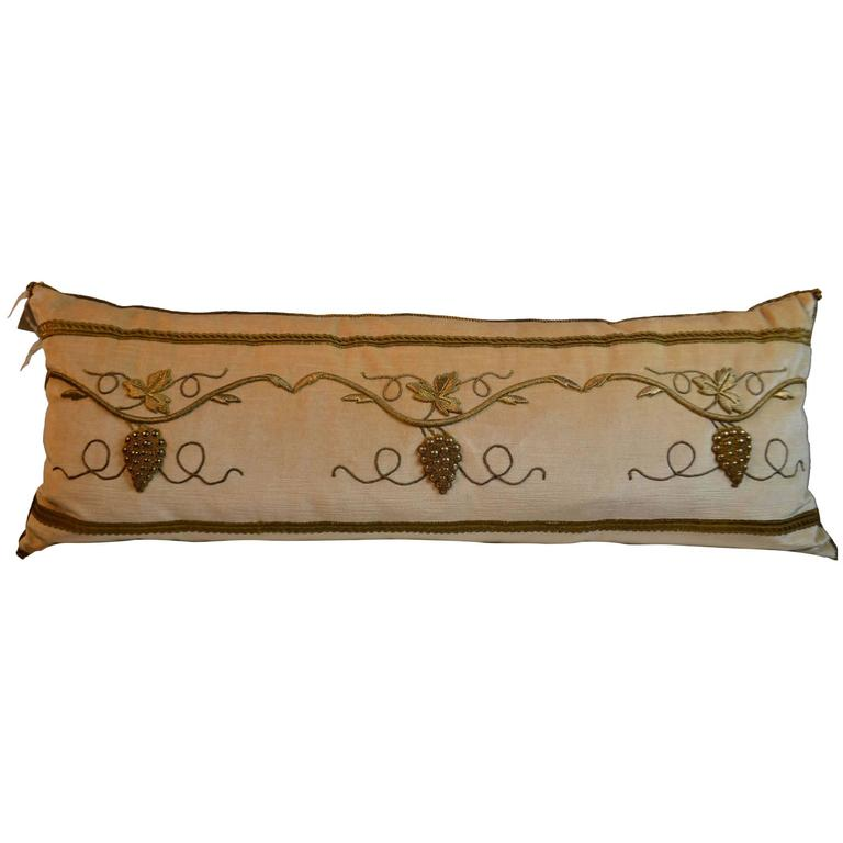 Antique Gold Decorative Pillows : Pillow with Antique Raised Gold Metallic Embroidery For Sale at 1stdibs