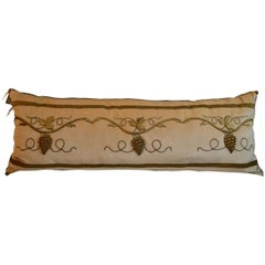 Pillow with Antique Raised Gold Metallic Embroidery