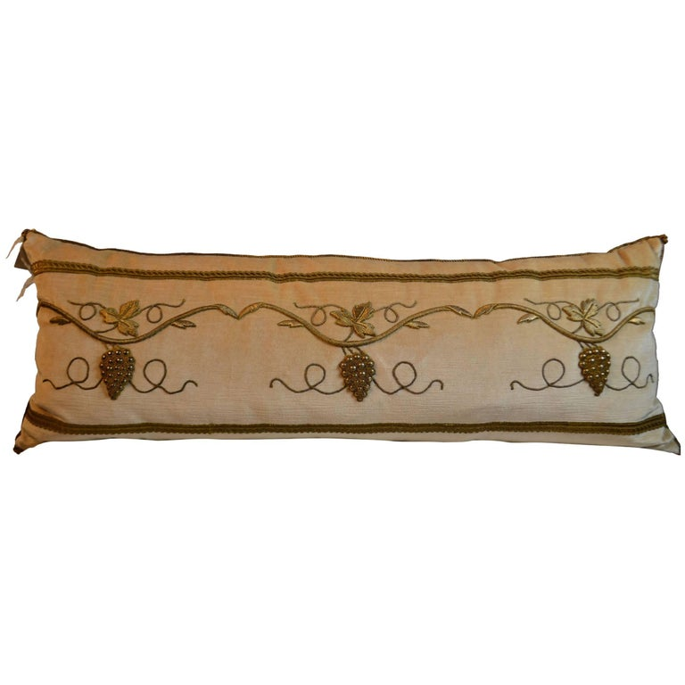 Pillow with Antique Raised Gold Metallic Embroidery For Sale