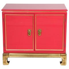 Poppy Lacquered Cabinet by Mastercraft