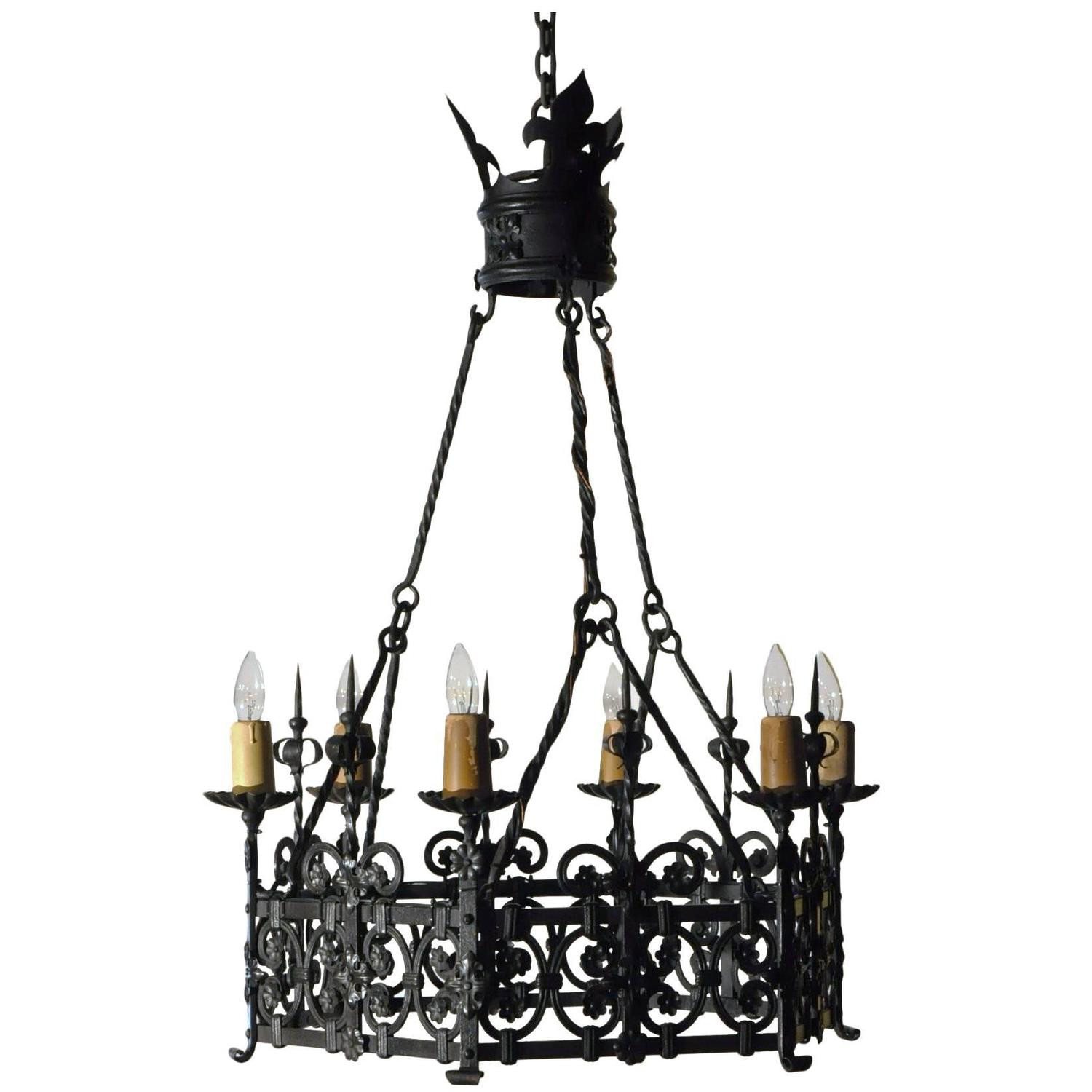 Six Light Antique Gothic Iron Chandelier from France For