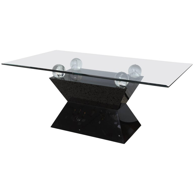 Rectangular Dining Table, Black Laminate, Lucite and Glass in Willy Rizzo Manner