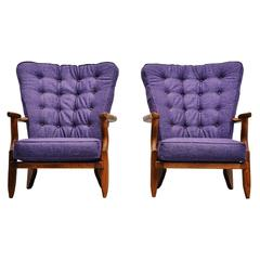 Guillerme et Chambron Lounge Chairs Pair, France, 1955