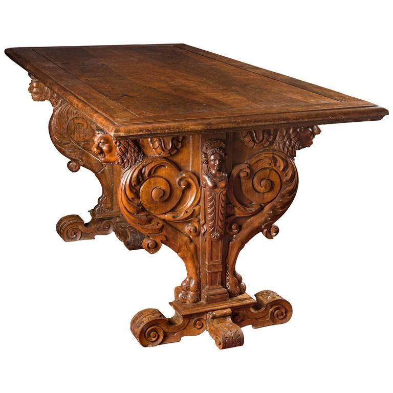 Renaissance Ceremonial Fan Shape Base Table From Hugues