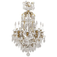 Early 20th Century Gilt Bronze and Cut-Glass Twenty-Five-Light Chandelier