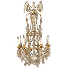 Lovely Late 19th Century Bronze and Rock Crystal Chandelier by Gagneau Frères