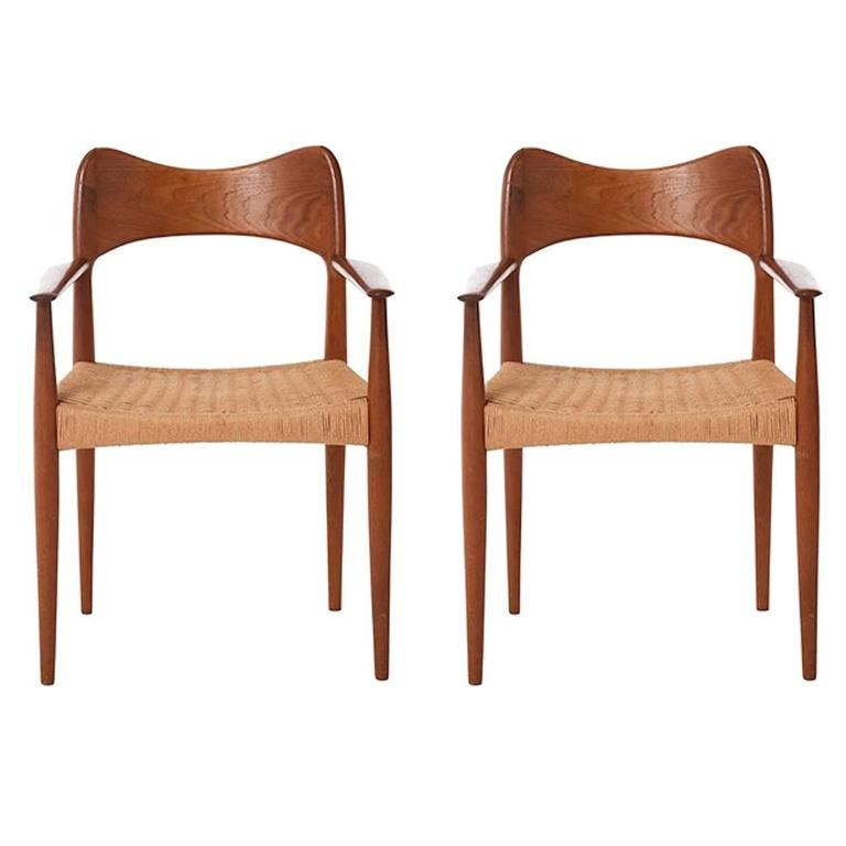Pair Of Vintage Danish Modern Armchair With Papercord Seat