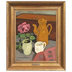Still Life with Pink Flower Oil Painting by Belgian Jean Brusselmans