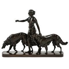 Art Deco Bronze Diana the Huntress and Hounds by Professor Arthur Bock