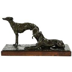 Unique French Cire Perdu Bronze of Greyhounds by Irénée Rochard
