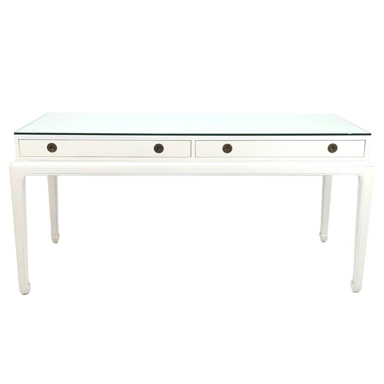 Asian modern campaign style desk or console by henredon at for Asian style desk