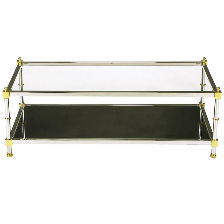 Chrome And Brass Coffee Table With Mirrored And Clear