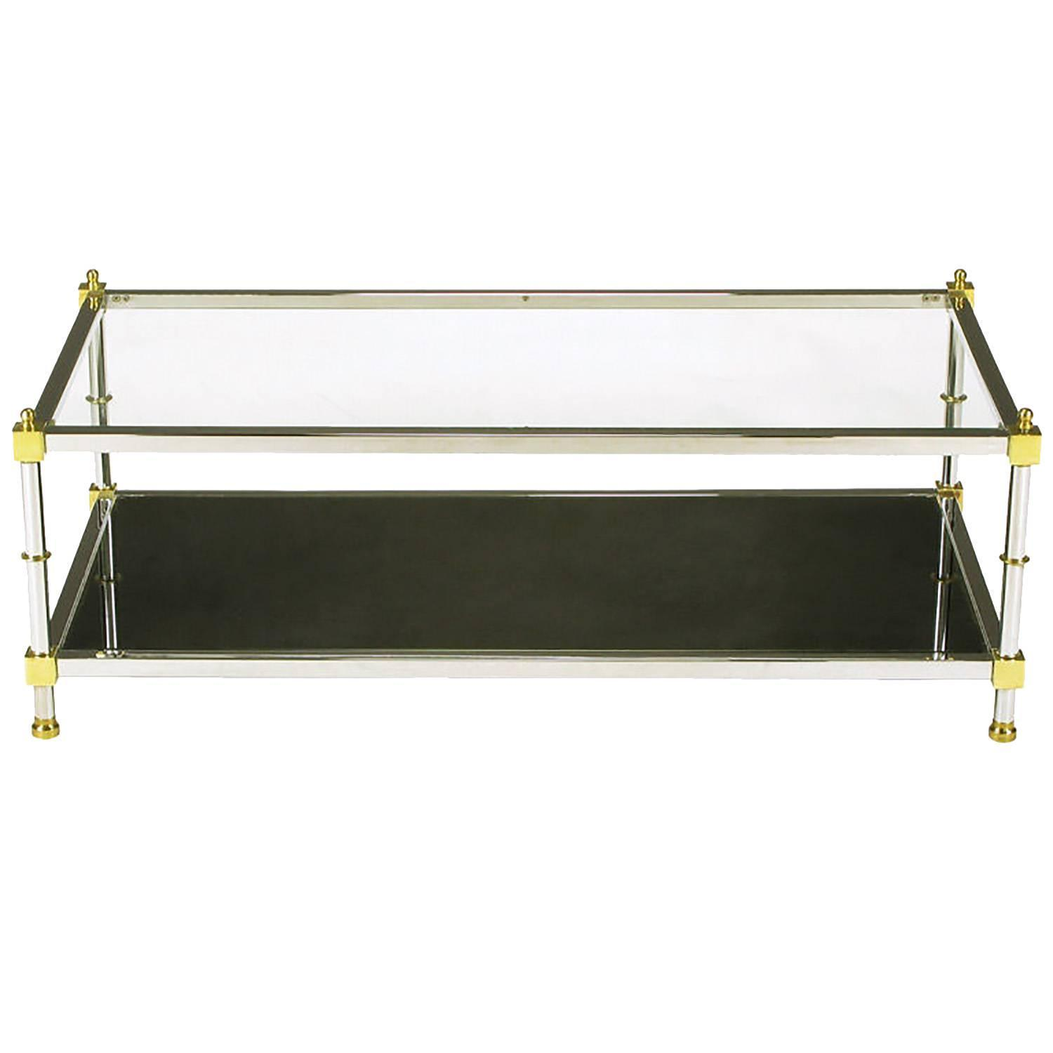 Mirrored Coffee Table Sale: Chrome And Brass Coffee Table With Mirrored And Clear