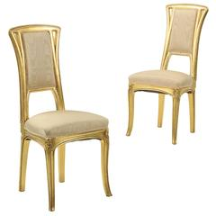 Fine Pair of Art Nouveau Period Giltwood Side Chairs, circa 1900
