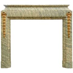 Louis XVI Style Estours Green Marble Fireplace, 19th Century