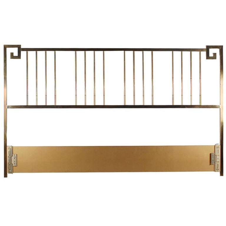 Brass King-Size Headboard by Mastercraft For Sale