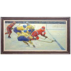 """Crossing the Blue Line"" Hockey Painting by Russian Painter Nikolai Ovchinnikov"