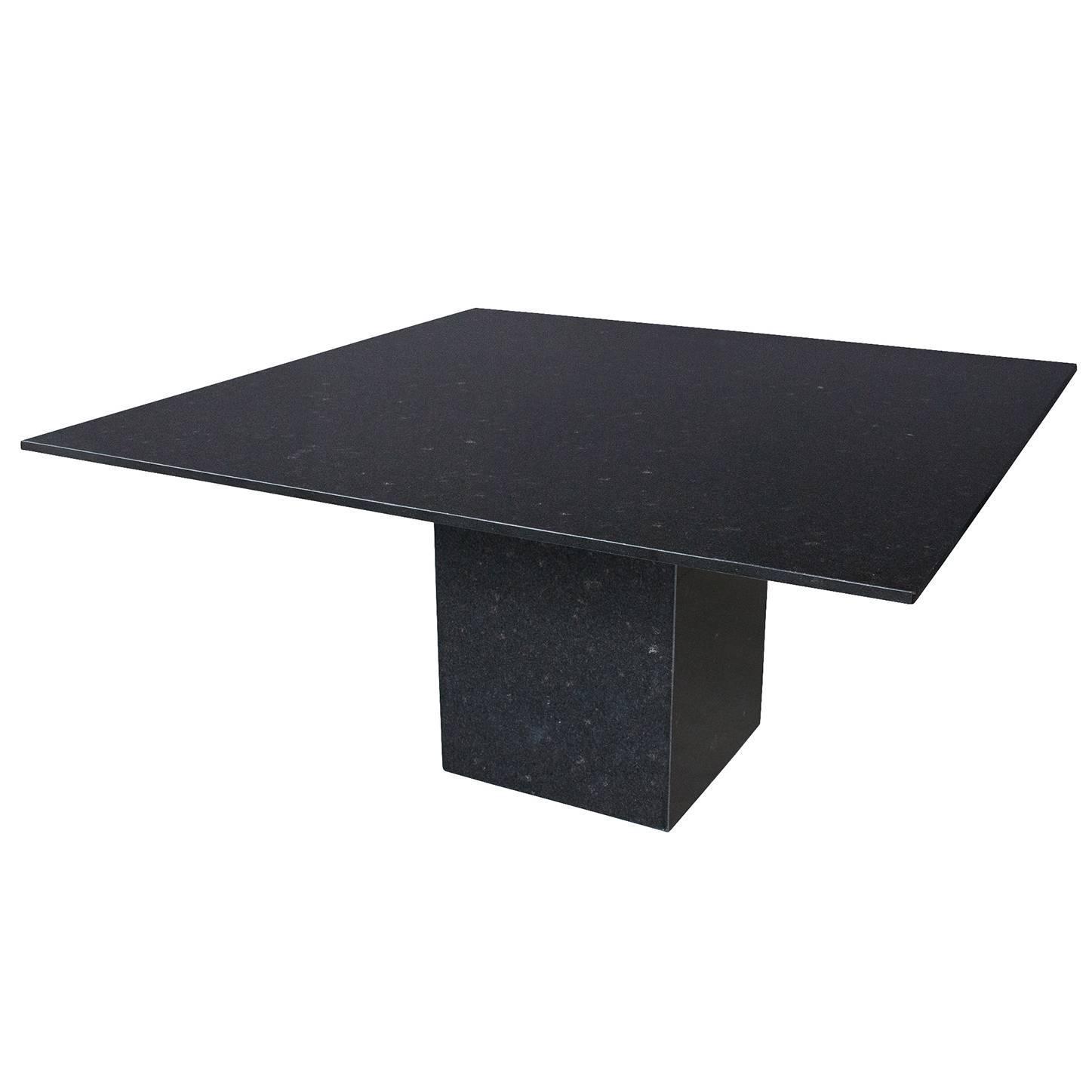 Minimalist Italian Black Granite Pedestal Dining Table At 1stdibs
