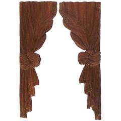 Pair of 19th Century Carved Oak Curtain Panels