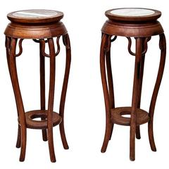 Pair of Chinese Tall Teak Stands