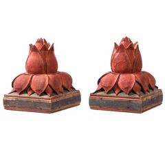 Pair of Asian Lotus Form Finials