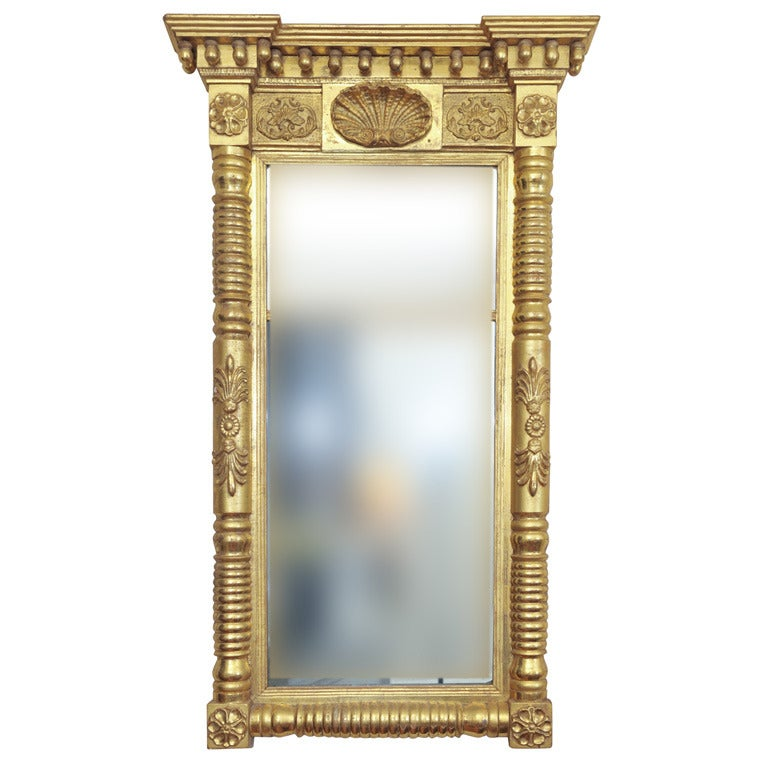 Magnificent Federal Period Water-Gilded Pier Mirror