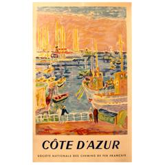 Original Vintage Travel Advertising Poster for the Cote D'azur - French Riviera