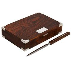 Hans Hansen, Sterling and Brazilian Rosewood Box and Letter Knife Set
