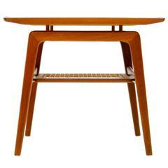 Teak & Cane Side Table by Arne Hovmand Olsen, Denmark 1950