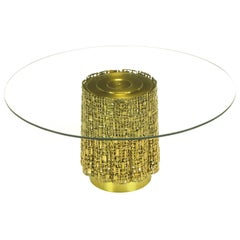 Glass Coffee Table with Base of Solid Brass Pierced Brutalist Relief Panels