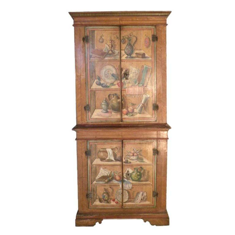 italian neoclassical trompe l 39 oeil painted cabinet for sale at 1stdibs. Black Bedroom Furniture Sets. Home Design Ideas