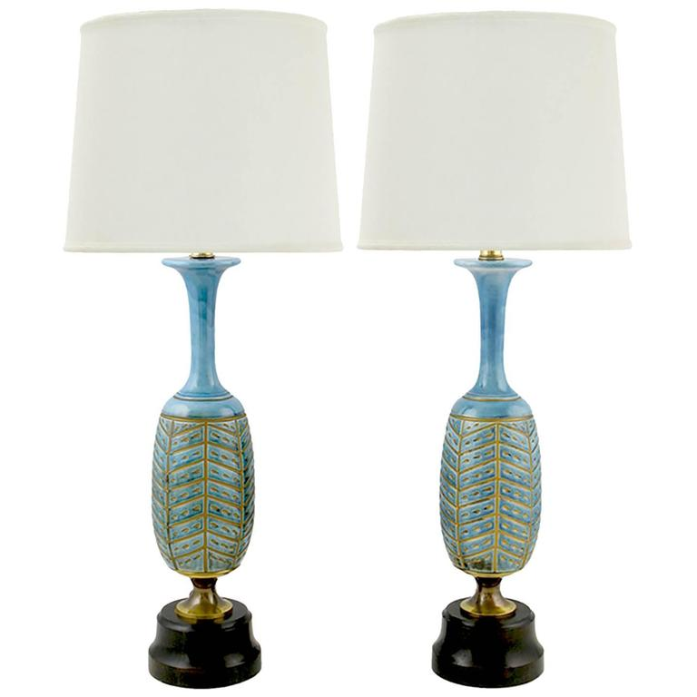 Pair of Rembrandt Cerulean Blue Pottery and Brass Table Lamps