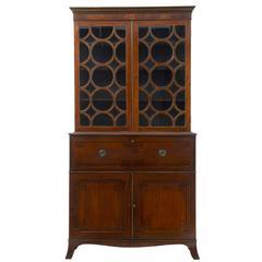19th Century George III Hepplewhite Design Mahogany Secretaire Bookcase