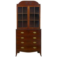 19th Century William IV Mahogany Secretaire Bookcase