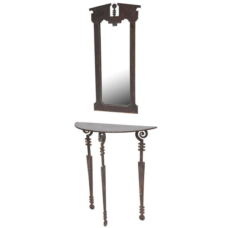 Hand-Forged and Cut Steel Console and Mirror